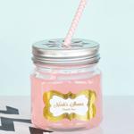 Personalized Metallic Foil Baby Mason Jar Drinking Glasses