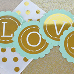 Personalized Metallic Foil Wedding Scallop Banner
