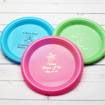 Personalized Round Baby Shower Plastic Plates - 50 pcs