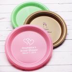 Personalized Round Wedding Plastic Plates - 50 pcs