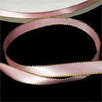 "Pink 3/8"" Satin Ribbon Polyester with Gold Edge"