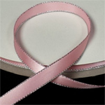 "Pink 3/8"" Satin Ribbon Polyester with Silver Edge"