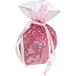 Pink Sequined Organza Gift and Favor Bag (fine shimmer)