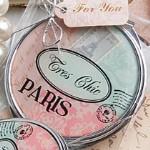Pretty Paris-Themed Mirror Compact Favor