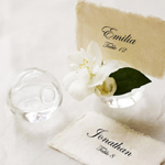 Round Glass Vase and Place Card Holder - 4 pcs