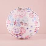 Round Paper Lantern With Vintage Floral Print