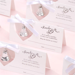 Silver Wedding Bell Place Cards - 24 pcs