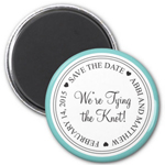 Simple Elegance Round Save The Date Magnet