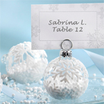 Snowflake Glass Ornament Place Card Holder - 6 pcs