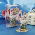 Special Delivery! Stork Figurine with Pink Accents