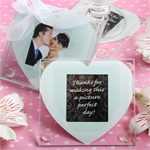 Square Glass Coaster with Heart Design
