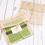 Square Sinamay Envelopes with Twine String - 10 pcs