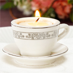 Tea Cup and Saucer with Tealight Candle