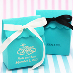 Tiffany Blue Personalized Scalloped Favor Bags