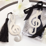 Treble Clef Brushed Metal Bookmark Favor