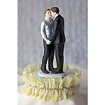 Tulle and Rhinestones Romance Gay Wedding Cake Topper