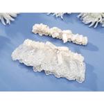 Garter Set - Heart Accent - Cream - 2 pieces