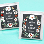 Vintage Blossoms Chalkboard Personalized Tea Favors
