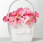 White Pleated Flower Girl Basket