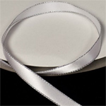 "White 3/8"" Satin Ribbon Polyester with Silver Edge"