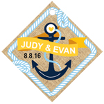 Anchored in Love Burlap Personalized Diamond Hang Tags - 20 pcs
