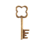 Antique Key Charm Style 1 Clover - set of 12