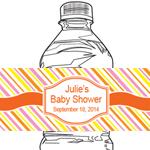 Diagonal Stripes Personalized Water Bottle Label - 12 pcs