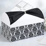 Black and White Damask Wedding Card Box