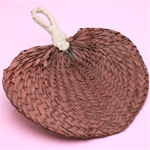 Brown Palm Leaf Hand Fans - 10 pcs