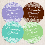 Elegant Damask Personalized Round Labels - 20 pieces