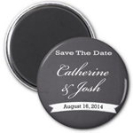 Chalkboard Round Save The Date Magnet