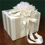 Chiffon Rose with Stripes Bridal Card Box