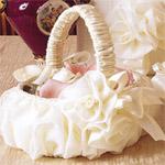 Elegant Chiffon Rose Flower Girl Basket