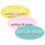 Custom Words Personalized Oval Labels - 24 pieces