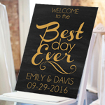 Best Day Ever Personalized Wedding Sign