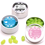 Damask First Communion Personalized Round Clear Topped Candy Tins