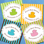 Ducky Personalized Square Tags or Stickers