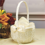 French Lace Flower Girl Basket