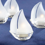 Set Sail Frosted Glass Sailboat Tealight Holders 4 Pcs