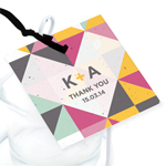 Geometric Heart Personalized Square Plantable Tags