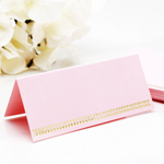 Gold Leaf Pink Blank Place Cards - 50 pcs
