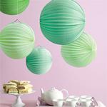 Green Accordion Paper Lanterns - 6 pcs