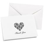 Heart Damask Thank You Cards - 50 pcs