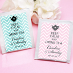 Keep Calm - Chevron Personalized Tea Bag Favor