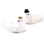 Miniature Bride and Groom Wedding Doves - Set of 6