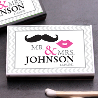 Mr. & Mrs. Personalized Matchboxes - set of 50