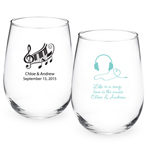 Music Personalized Stemless Wine Glass Favors