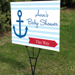 Nautical Baby Shower Personalized Directional Sign