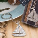 Nautical Themed Silver Sailboat Key Chain