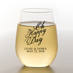 Oh Happy Day Personalized Stemless Wine Glass